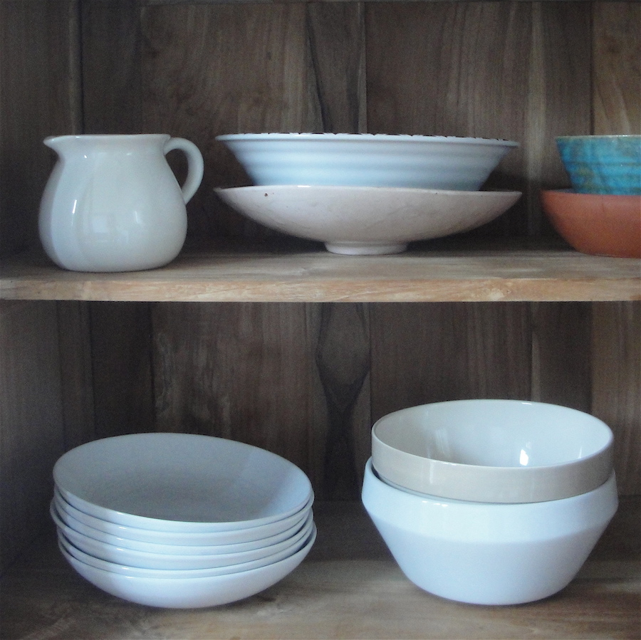 decluttering London bowls on shelves